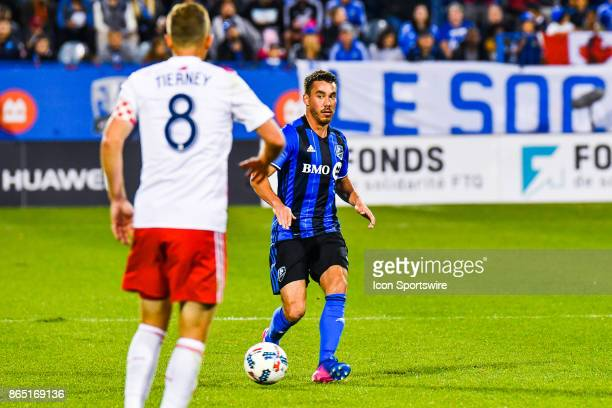 Montreal Impact defender Daniel Lovits looks towards New England Revolution defender Chris Tierney during the New England Revolution versus the...