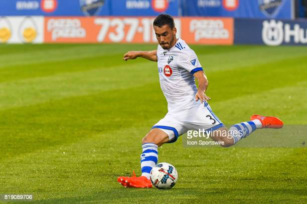 Montreal Impact defender Daniel Lovitz about to kick the ball during the Philadelphia Union versus the Montreal Impact game on July 19 at Stade...