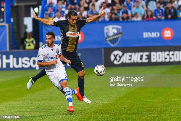 Montreal Impact defender Daniel Lovitz avoigind collision with Philadelphia Union midfielder Ilsinho during the Philadelphia Union versus the...