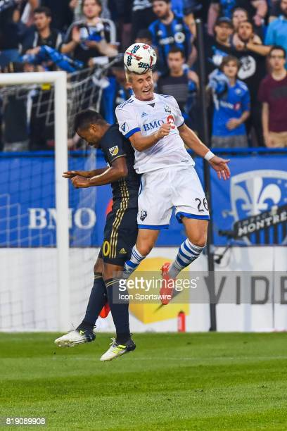Montreal Impact defender Kyle Fisher in the air hitting the ball with his head during the Philadelphia Union versus the Montreal Impact game on July...