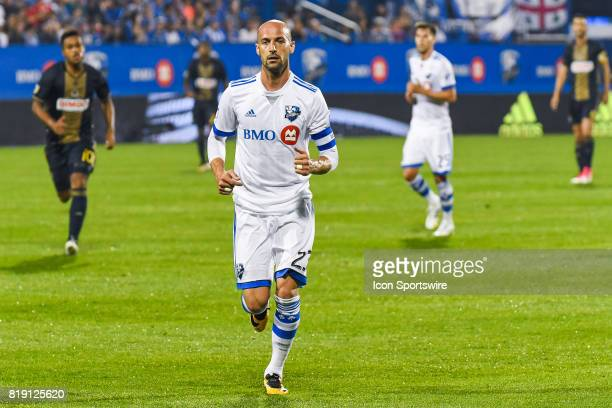 Montreal Impact defender Laurent Ciman runing on the field during the Philadelphia Union versus the Montreal Impact game on July 19 at Stade Saputo...