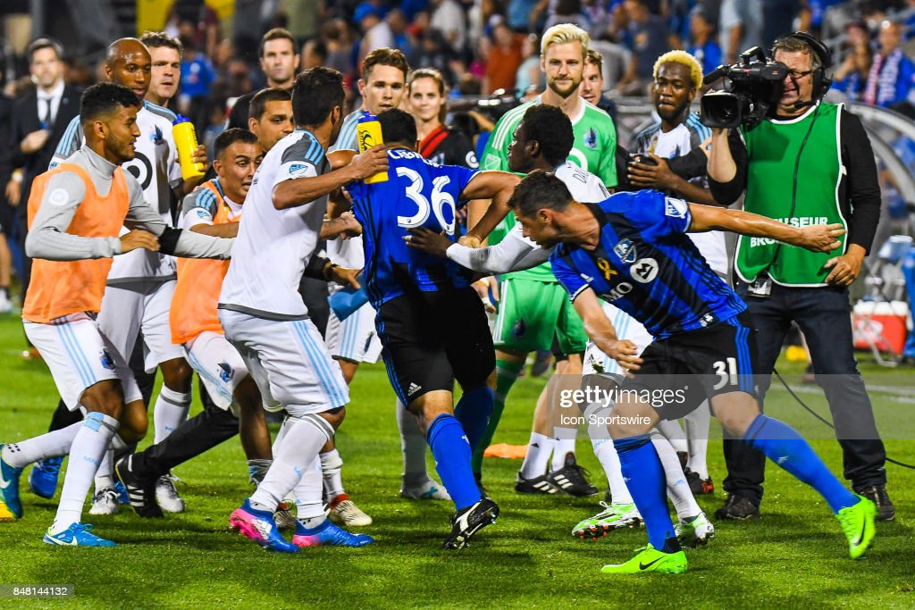 Montreal Impact defender Victor Cabrera (36) jumps on Minnesota United FC players after the Minnesota United FC versus the Montreal Impact game on September 16, 2017, at Stade Saputo in Montreal, QC
