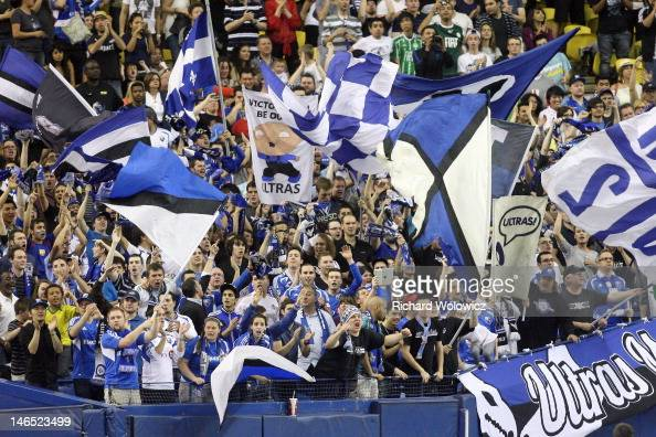 Montreal Impact fans during the MLS match against the Los Angeles Galaxy at the Olympic Stadium on May 12 2012 in Montreal Quebec Canada The game...