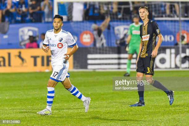 Montreal Impact forward David Choiniere running on the field during the Philadelphia Union versus the Montreal Impact game on July 19 at Stade Saputo...