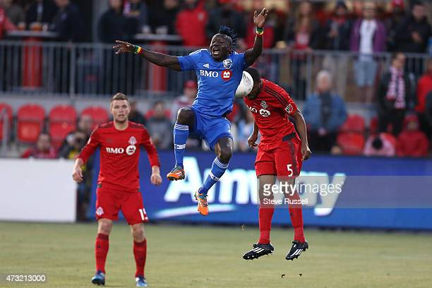 TORONTO ON MAY 13 Montreal Impact forward Dominic Oduro misses a header as Toronto FC plays Montreal Impact in the SemiFinal of the Amway Canadian...