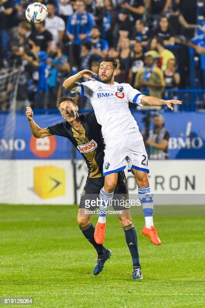 Montreal Impact forward Matteo Mancosu in the air after hitting the ball with his head during the Philadelphia Union versus the Montreal Impact game...
