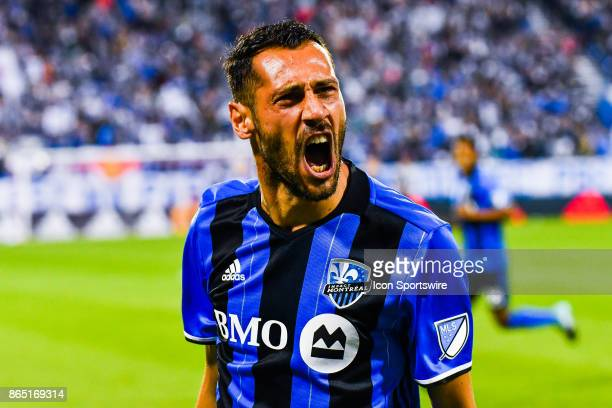 Montreal Impact forward Matteo Mancosu screams his joy after scoring a goal making the game a tie at the moment during the New England Revolution...