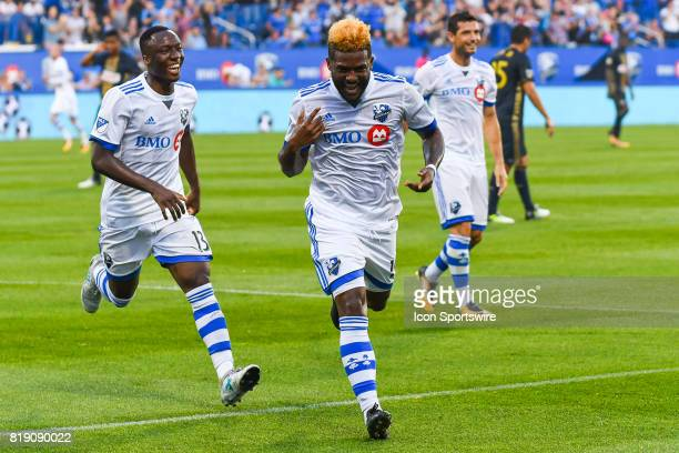 Montreal Impact forward Michael Salazar celebrating his goal making the score 10 Impact during the Philadelphia Union versus the Montreal Impact game...