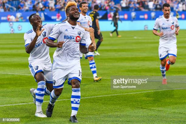 Montreal Impact forward Michael Salazar celebrating his goal while Montreal Impact midfielder Ballou Tabla is reaching him for the celebration during...