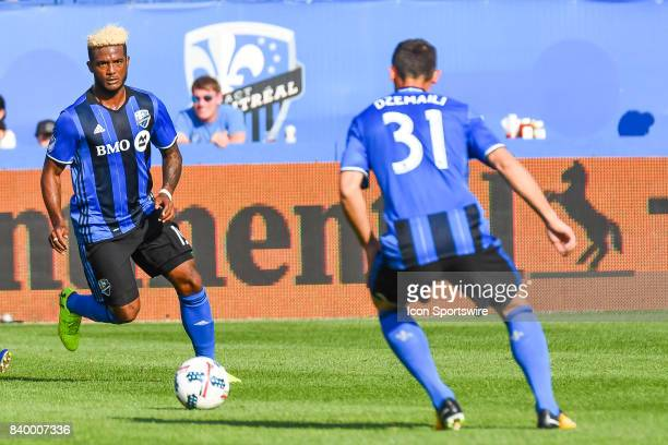 Montreal Impact forward Michael Salazar passing the ball to Montreal Impact midfielder Blerim Dzemaili during the Toronto FC versus the Montreal...