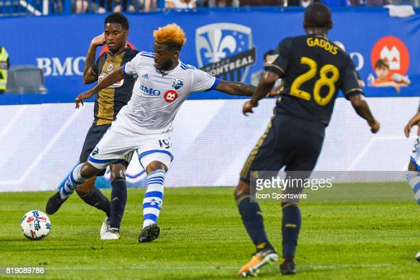 Montreal Impact forward Michael Salazar reaching to gain control of the ball during the Philadelphia Union versus the Montreal Impact game on July 19...
