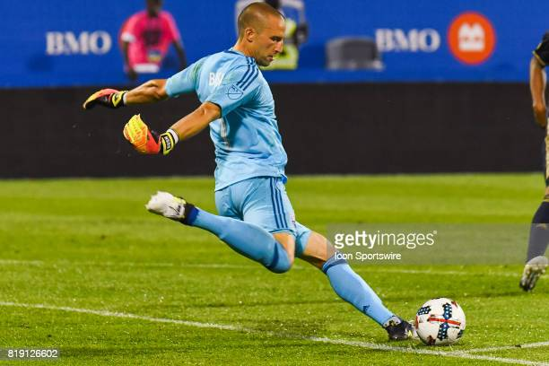 Montreal Impact goalkeeper Evan Bush about to kick the ball during the Philadelphia Union versus the Montreal Impact game on July 19 at Stade Saputo...