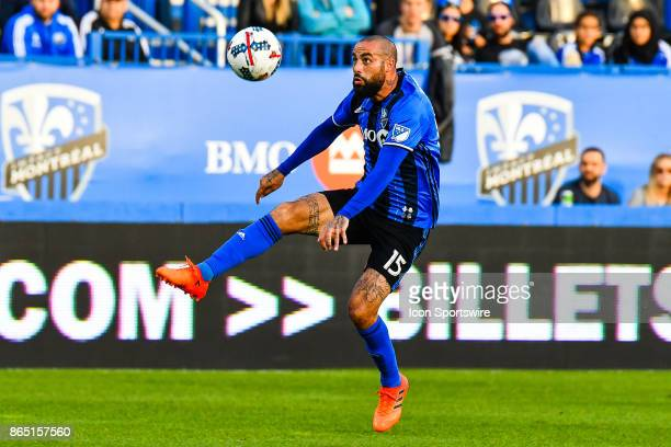 Montreal Impact midfielder Andres Romero kicks the ball in the air during the New England Revolution versus the Montreal Impact game on October 22 at...