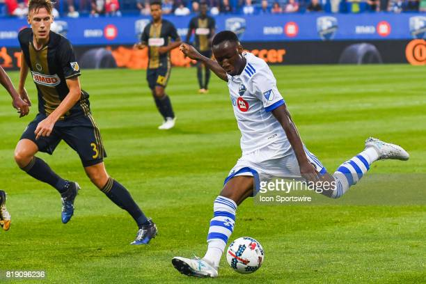 Montreal Impact midfielder Ballou Tabla about to kick the ball during the Philadelphia Union versus the Montreal Impact game on July 19 at Stade...