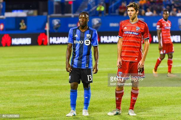 Montreal Impact midfielder Ballou Tabla and FC Dallas midfielder Ryan Hollingshead standing on the field side by side during the FC Dallas versus the...