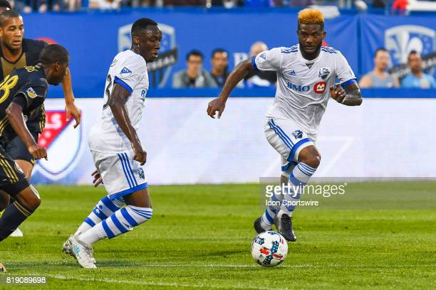 Montreal Impact midfielder Ballou Tabla and Montreal Impact forward Michael Salazar running towards the ball during the Philadelphia Union versus the...