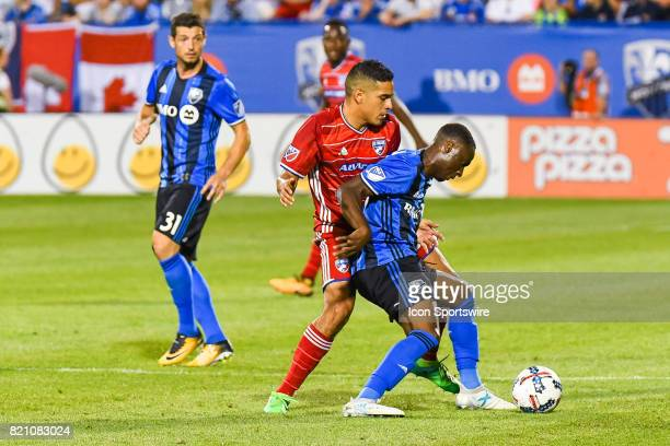Montreal Impact midfielder Ballou Tabla battling for control of the ball with FC Dallas player during the FC Dallas versus the Montreal Impact game...