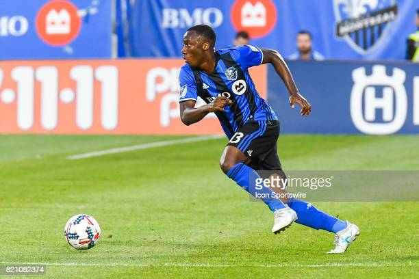 Montreal Impact midfielder Ballou Tabla chasing the ball during the FC Dallas versus the Montreal Impact game on July 22 at Stade Saputo in Montreal...