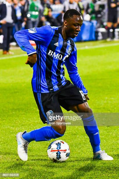 Montreal Impact midfielder Ballou Tabla dribbles with the ball during the New England Revolution versus the Montreal Impact game on October 22 at...