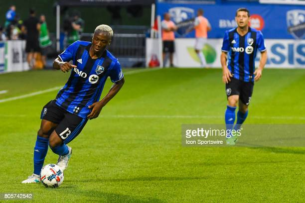 Montreal Impact midfielder Ballou Tabla gaining control of the ball after a pass from Montreal Impact midfielder Blerim Dzemaili during the DC United...