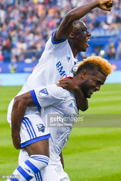 Montreal Impact midfielder Ballou Tabla on Montreal Impact forward Michael Salazar shoulders to celebrate Montreal Impact forward Michael Salazar...