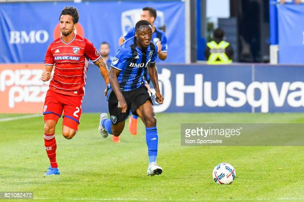 Montreal Impact midfielder Ballou Tabla running towards the ball during the FC Dallas versus the Montreal Impact game on July 22 at Stade Saputo in...