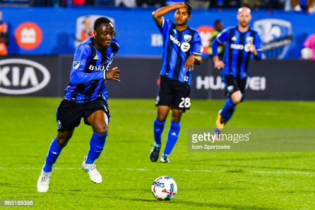Montreal Impact midfielder Ballou Tabla runs with the ball during the New England Revolution versus the Montreal Impact game on October 22 at Stade...
