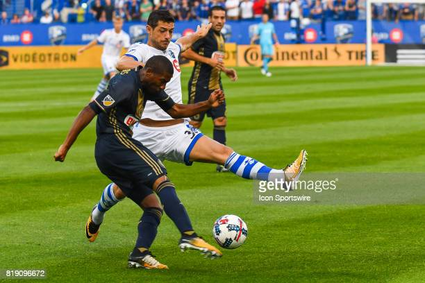 Montreal Impact midfielder Belrim Dzemaili battling for the ball with Philadelphia Union defender Ray Gaddis during the Philadelphia Union versus the...