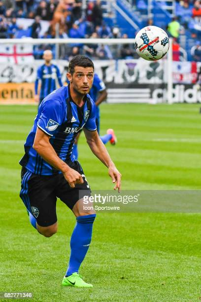 Montreal Impact midfielder Belrim Dzemaili running after the ball while looking at it in the air during the Columbus Crew FC versus the Montreal...