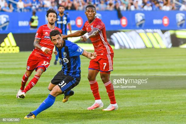 Montreal Impact midfielder Belrim Dzemaili trying to turn and go around FC Dallas midfielder Carlos Gruezo during the FC Dallas versus the Montreal...