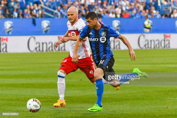 Montreal Impact midfielder Blerim Dzemaili and Toronto FC midfielder Michael Bradley chasing the ball during the Toronto FC versus the Montreal...