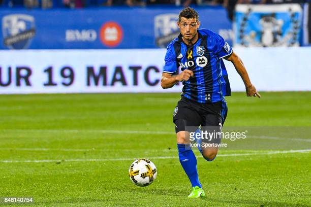 Montreal Impact midfielder Blerim Dzemaili chases the ball on the field during the Minnesota United FC versus the Montreal Impact game on September...