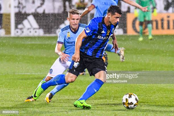 Montreal Impact midfielder Blerim Dzemaili gets away with the ball during the New York City FC versus the Montreal Impact game on September 27 at...