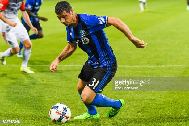 Montreal Impact midfielder Blerim Dzemaili getting to the ball during the DC United versus the Montreal Impact game on July 1 at Stade Saputo in...