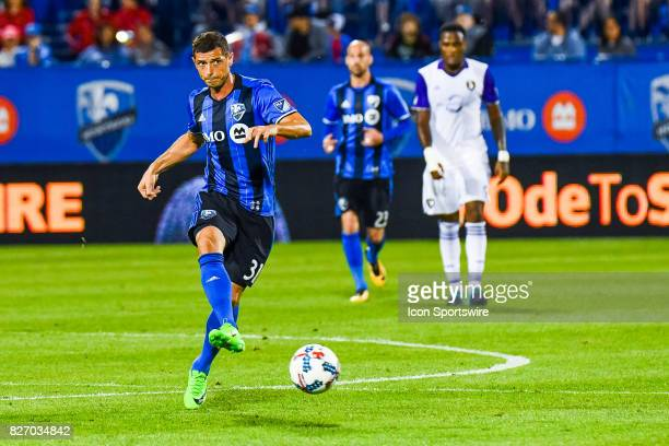 Montreal Impact midfielder Blerim Dzemaili kicking the ball away during the Orlando City SC versus the Montreal Impact game on August 5 at Stade...
