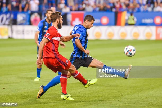 Montreal Impact midfielder Blerim Dzemaili kicking the ball in the air during the Chicago Fire versus the Montreal Impact game on August 16 at Stade...