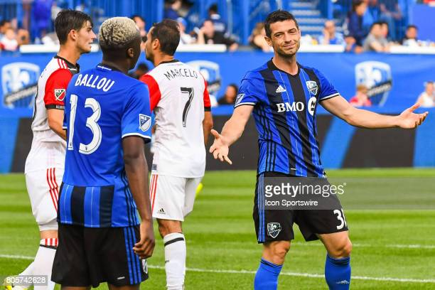 Montreal Impact midfielder Blerim Dzemaili looking sorry at Montreal Impact midfielder Ballou Tabla after he missed a shot during the DC United...