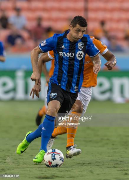 Montreal Impact midfielder Blerim Dzemaili pushes the ball down the pitch during the MLS match between the Montreal Impact and Houston Dynamo on July...