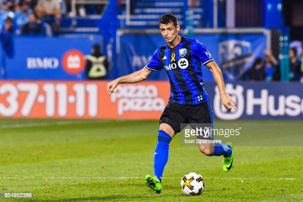 Montreal Impact midfielder Blerim Dzemaili runs on the field in control of the ball during the New York City FC versus the Montreal Impact game on...