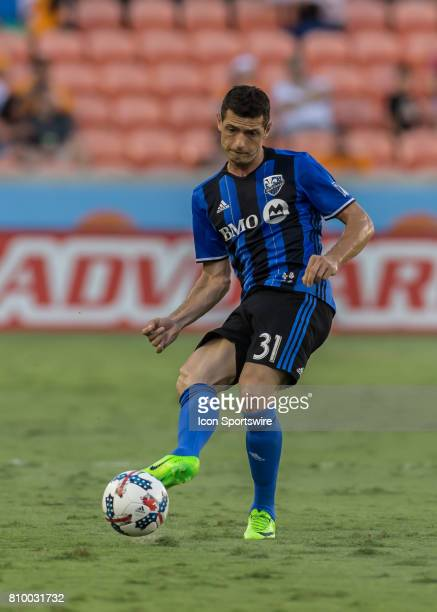 Montreal Impact midfielder Blerim Dzemaili sends the ball out during the MLS match between the Montreal Impact and Houston Dynamo on July 5 2017 at...