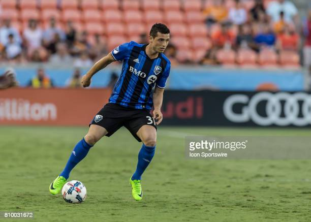 Montreal Impact midfielder Blerim Dzemaili takes the ball down pitch during the MLS match between the Montreal Impact and Houston Dynamo on July 5...