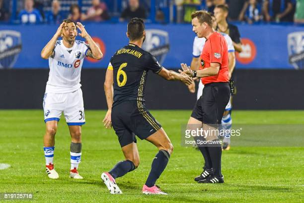 Montreal Impact midfielder Hernan Bernardello arguing with Philadelphia Union midfielder Haris Medunjanin and the referee about a tackle during the...