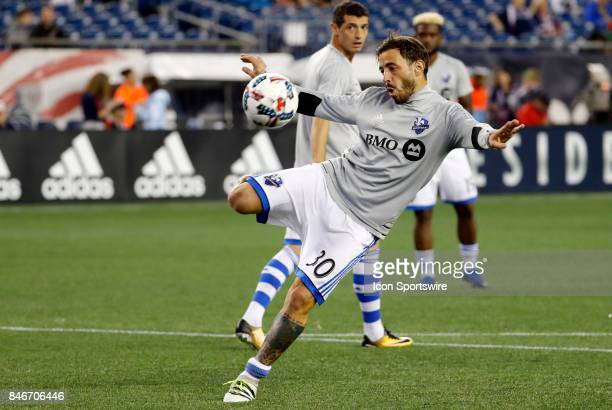 Montreal Impact midfielder Hernan Bernardello warms up before an MLS match between the New England Revolution and the Montreal Impact on September 9...