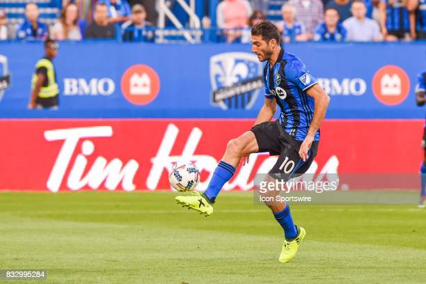 Montreal Impact midfielder Ignacio Piatti kicking the ball in the air during the Chicago Fire versus the Montreal Impact game on August 16 at Stade...