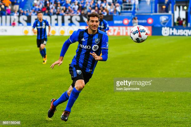 Montreal Impact midfielder Ignacio Piatti looks at the ball in the air during the New England Revolution versus the Montreal Impact game on October...