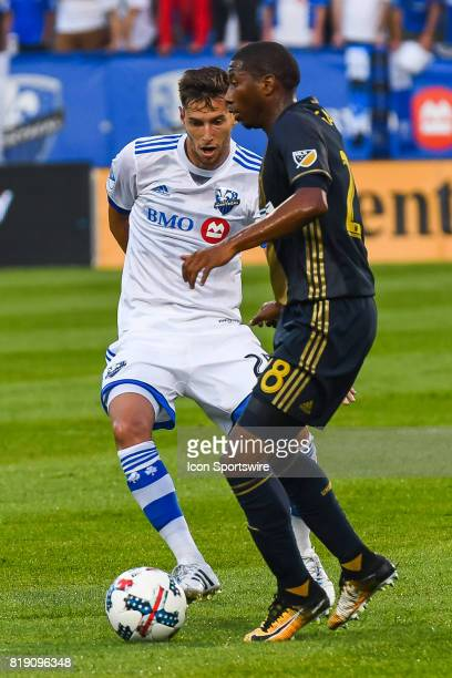 Montreal Impact midfielder Louis BelandGoyette and Philadelphia Union defender Ray Gaddis battling to control the ball during the Philadelphia Union...