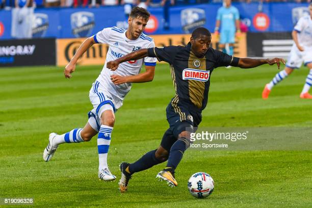 Montreal Impact midfielder Louis BelandGoyette running towards Philadelphia Union defender Ray Gaddis during the Philadelphia Union versus the...