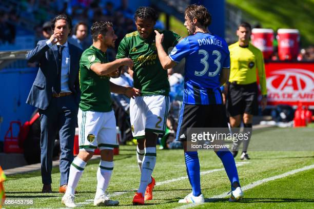 Montreal Impact midfielder Marco Donadel and Portland Timbers midfielder Sebastian Blanco agruing on the sidelines during the Portland Timbers versus...