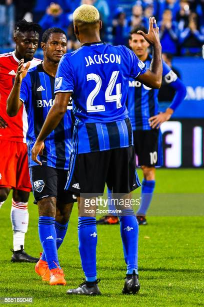 Montreal Impact midfielder Patrice Bernier getting emotional leaving the field in Montreal for the last time and shaking hands with his teammate...