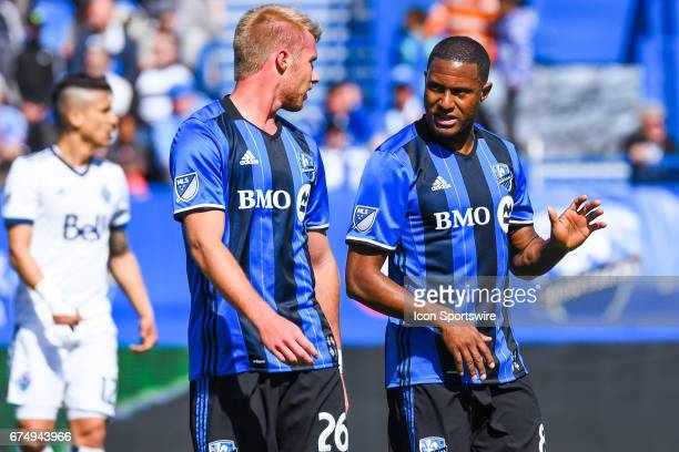 Montreal Impact midfielder Patrice Bernier talking to Montreal Impact defender Kyle Fisher during the Vancouver Whitecaps FC versus the Montreal...
